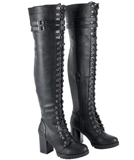 Ladie's Knee High Motorcycle Boots With Chunky Heel and Zipper - SKU GRL-MR-BTL7003-DL