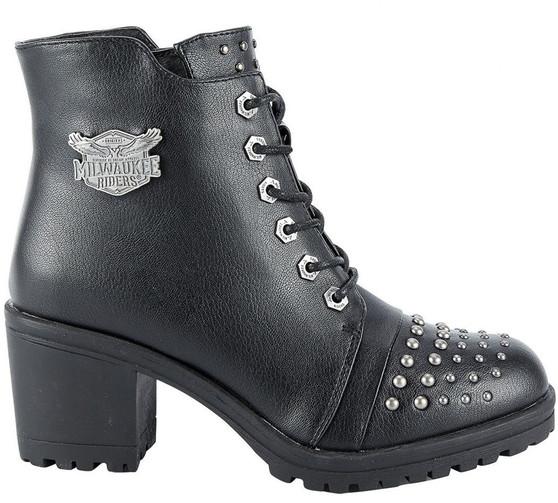 Ladie's Studded Motorcycle Boots With Chunky Heels - SKU GRL-MR-BTL7002-DL
