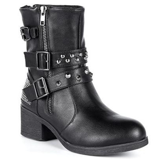 Ladie's Studded Motorcycle Boots With Zippers - SKU GRL-MR-BTL7001-DL