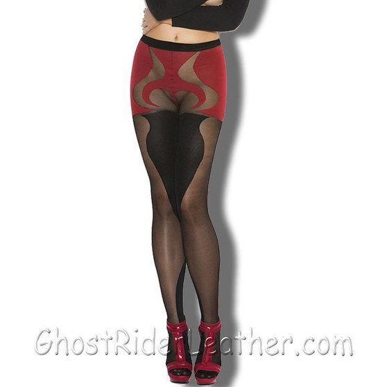 Ladies Black and Red - Sheer and Opaque - With Heart Detail Pantyhose- SKU GRL-1153-EML