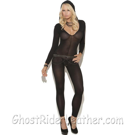Ladies Black Bodystocking - SKU GRL-8802-EML