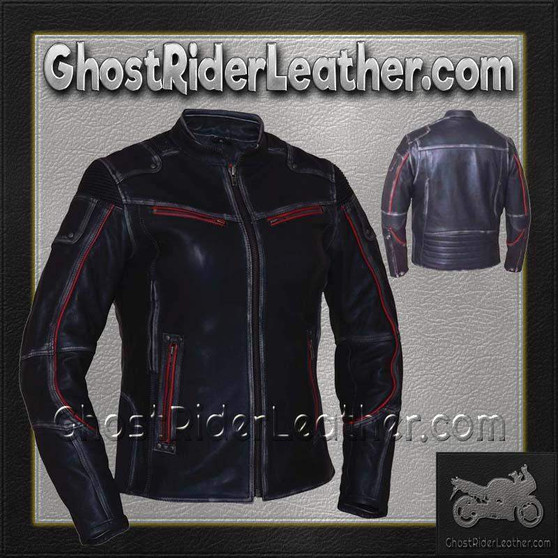 Ladies Black With Red Trim Durango Leather Jacket with Concealed Carry Pockets / SKU GRL-6833.01-UN