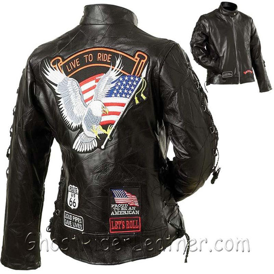 Ladies Diamond Plate Patchwork Leather Motorcycle Jacket With Patches - SKU GRL-GFLADLTRS-BN