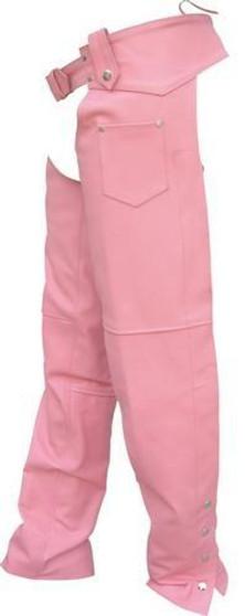 Ladies Hip Hugger Pink Leather Motorcycle Chaps - SKU GRL-AL2421-PINK-AL