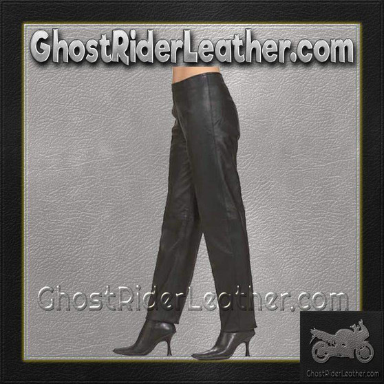 Ladies Hip Hugger Straight Leg Leather Pants - SKU GRL-C503-DL