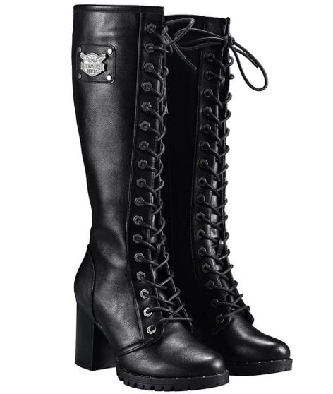 Ladies Knee High Motorcycle Boots With Chunky Heel and Zipper - SKU GRL-MR-BTL7006-DL