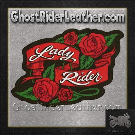 Ladies Lady Rider With Roses Patch / SKU GRL-PAT-A53-DL
