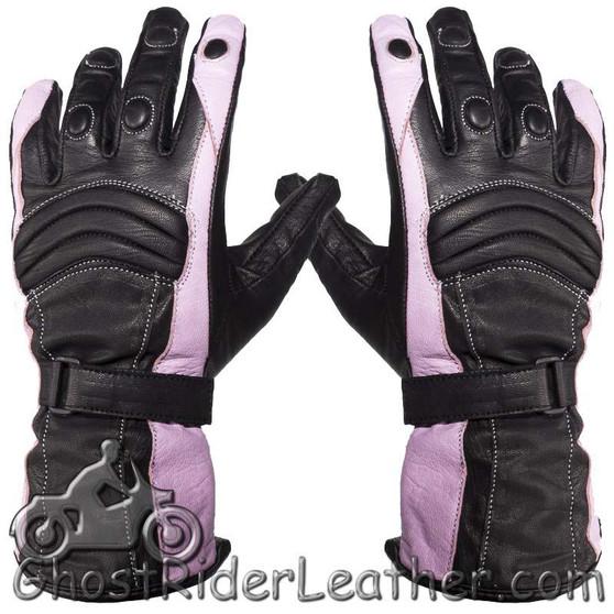 Ladies Leather Gauntlet Gloves in Pink and Black With Padded Knuckles - SKU GRL-GLZ60-PINK-DL