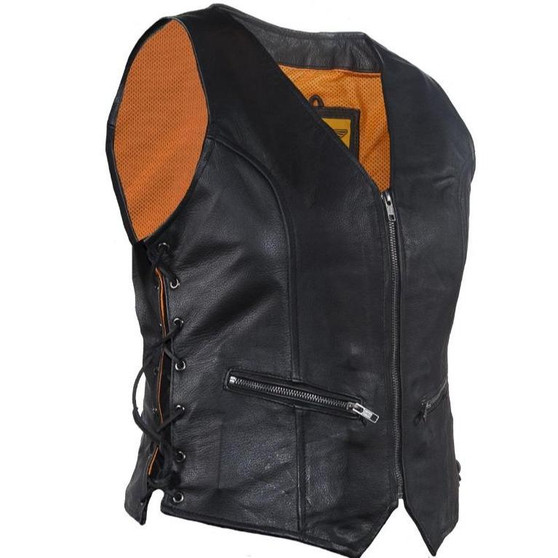 Ladies Leather Vest with Side Laces and Concealed Carry Pocket - SKU GRL-LV8509-DL