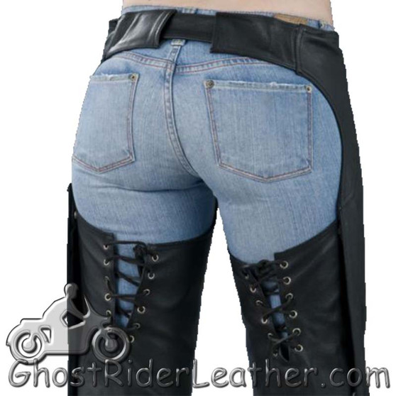 Ladies Low Rise Leather Chaps in Premium Naked Leather - SKU C1003-DL