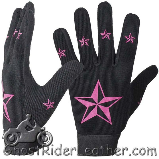 Ladies Mechanics Gloves With Pink Stars - SKU GRL-GLZ87-DL