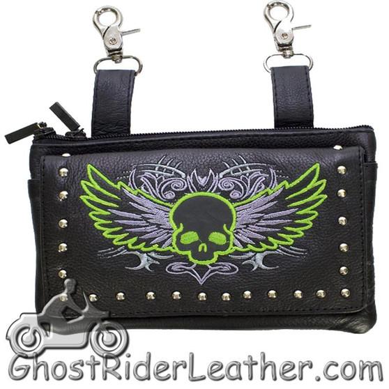 Ladies Naked Leather Belt Bag with Lime Green Flying Skull Design - Handbag - SKU GRL-BAG35-EBL10-LIME-DL