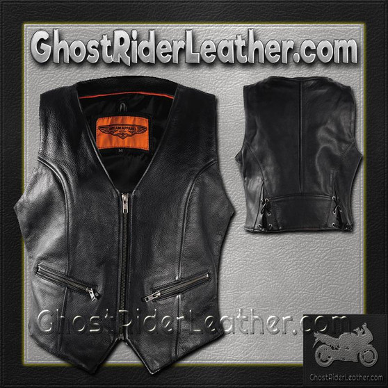 Ladies Naked Leather Motorcycle Zipper Vest with Concealed Carry Pockets - SKU GRL-LV8507-11-DL