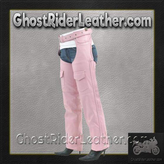 Ladies Pink Leather Motorcycle Chaps With Braid Design - SKU GRL-C326-PINK-DL