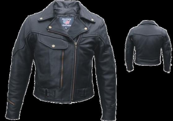 Ladies Pistol Pete Vented Motorcycle Leather Jacket - SKU AL2144-AL