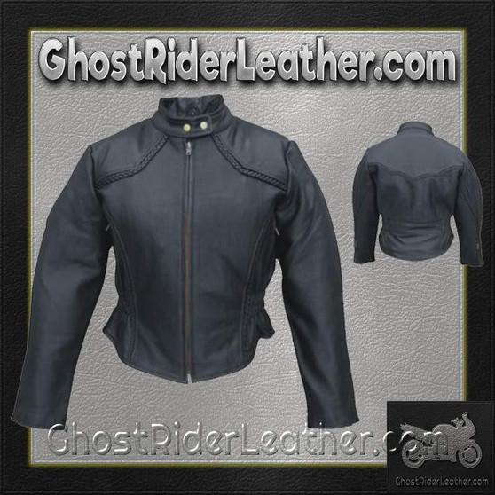 Ladies Racer Biker Leather Jacket With Braid Trim / SKU GRL-AL2142-AL