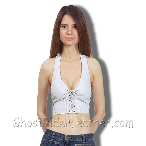 Ladies White Leather Halter Top With Leather Laces Front Closure - SKU GRL-SK992-DL
