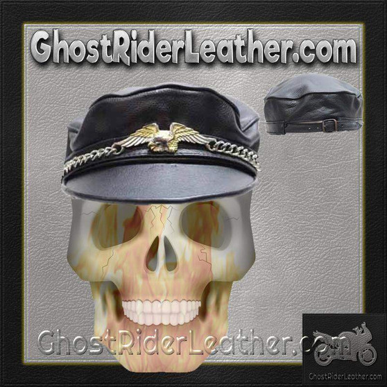 Leather Cap Hat with Chain and Eagle - SKU GRL-AC96-DL