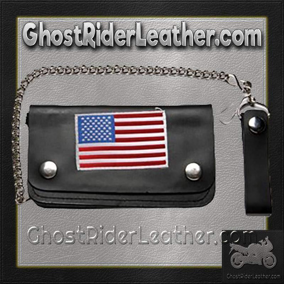 Leather Chain Wallet with USA Flag / SKU GRL-WALLET9-DL
