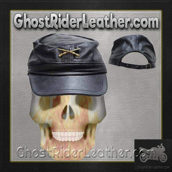 Leather Rebel Cap With Crossed Rifles and Adjustable Back / SKU GRL-AC30-DL