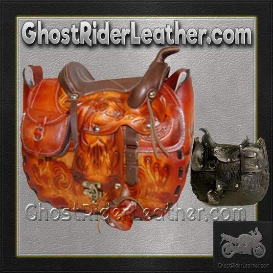 Leather Saddle Purse, Made In USA / SKU GRL-BL44-BL