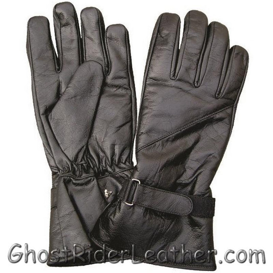 Lined Leather Riding Gloves with Velcro Tab  - Gauntlet Style - SKU GRL-AL3062-AL