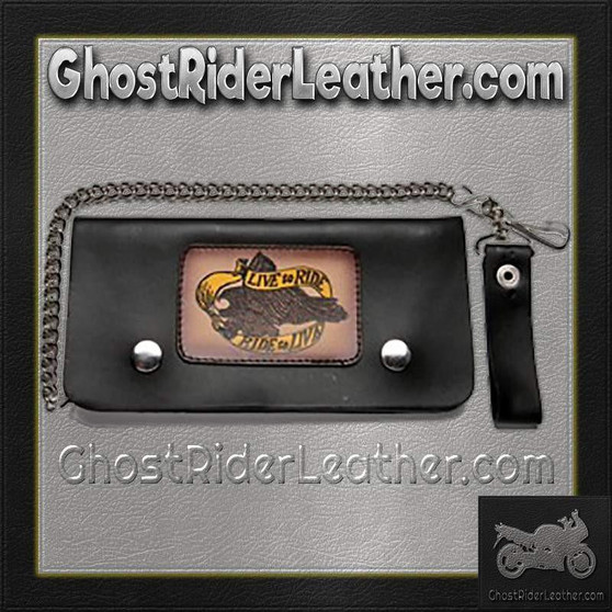 Live To Ride Leather Motorcycle Chain Wallet / SKU GRL-WALLET2-DL