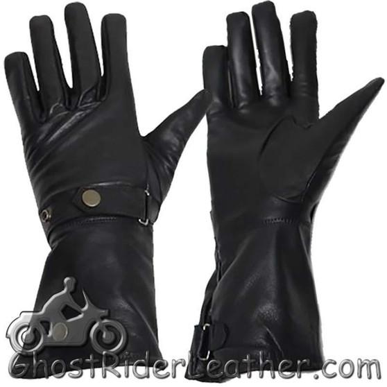 Long Leather Summer Riding Gauntlet Gloves - SKU GRL-GL2064-DL