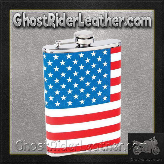 Maxam 8oz Stainless Steel Flask with American Flag Wrap / SKU GRL-KTFLKFLG-BN