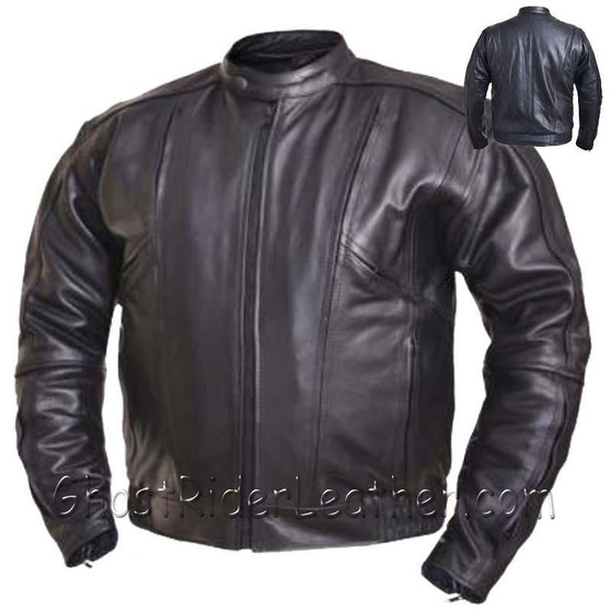 Mens Big and Tall Racer Euro Style Motorcycle Leather Jacket - SKU GRL-0209.BT-UN