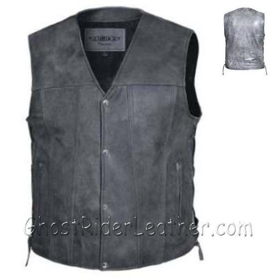 Mens Big Size Tombstone Gray Leather Vest - SKU GRL-2611.GN-UN