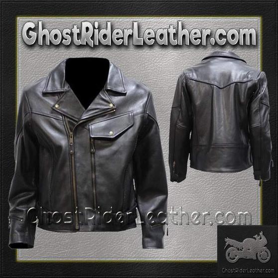 Mens Braided Pistol Pete Leather Motorcycle Jacket - SKU GRL-MJ708-SS-DL