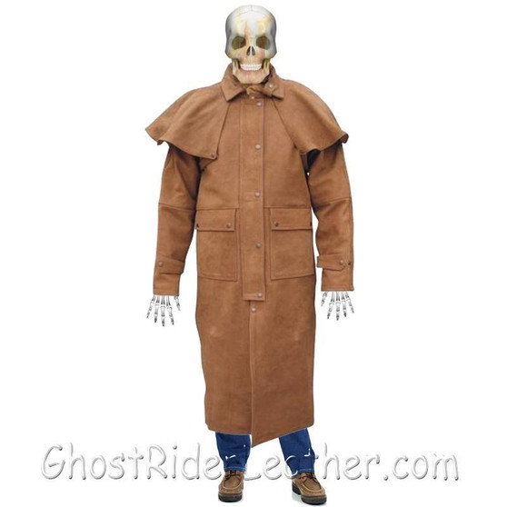 Mens Brown Buffalo Leather Duster Coat - SKU GRL-AL2602-AL