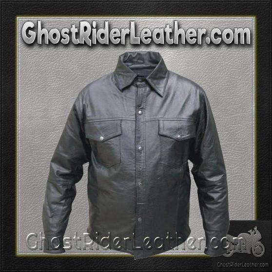 Mens Buffalo Leather Shirt with Snap Closure / SKU GRL-AL2670-AL