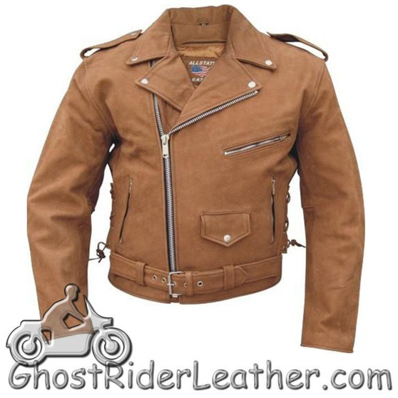 Mens Classic Style Brown Leather Motorcycle Jacket - Up To Size 60 - SKU GRL-AL2015-AL