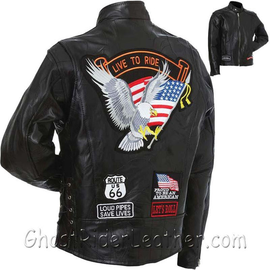 Mens Diamond Plate Patchwork Leather Motorcycle Jacket With Patches - SKU GRL-GFCRLTRS-BN