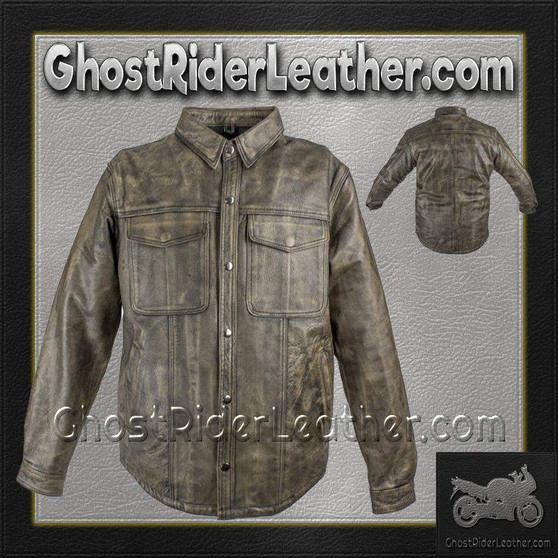 Mens Distressed Brown Leather Shirt with Concealed Carry Pockets / SKU GRL-MJ777-12L-DL