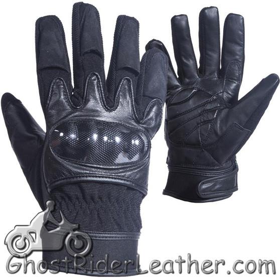 Mens Hard Knuckle Leather Suede and Textile Motorcycle Gloves - SKU GLZ79-DL