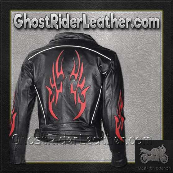 Mens Leather Motorcycle Jacket with Red Flames and Reflective Piping - SKU GRL-MJ781-DL