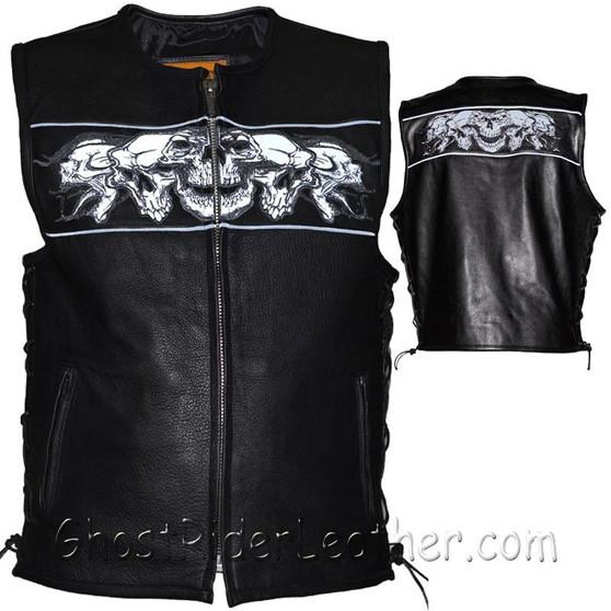 Mens Leather Vest with Night Reflective Skulls and Concealed Carry Pockets / SKU GRL-MV8025-DL