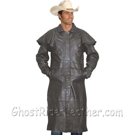 Mens Light Weight Black Buffalo Leather Duster Coat - SKU GRL-AL2601-AL