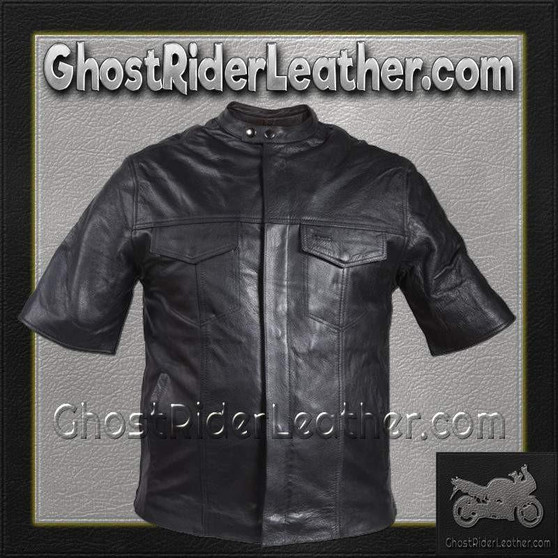 Mens Light Weight Leather Shirt with Short Sleeves / SKU GRL-MJ822-11L-DL