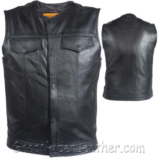 Mens Motorcycle Club Naked Leather Vest With Zipper - No Collar - SKU GRL-MV8008-ZIP-11-DL