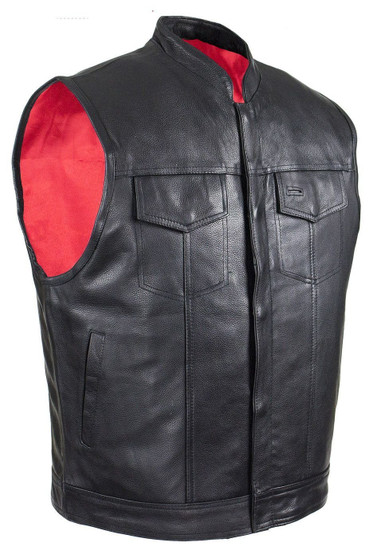 Mens Naked Leather Motorcycle Club Vest with Red Lining - SKU GRL-MV316-11-DL