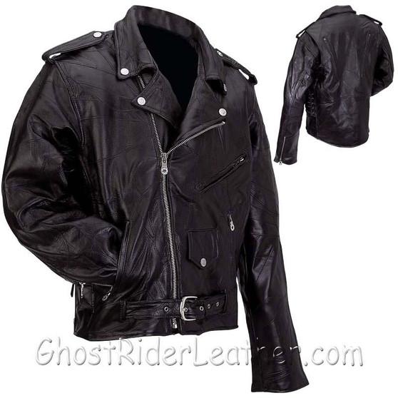 Mens Patchwork Leather Motorcycle Jacket - Big Sizes - SKU GRL-GFMOT3X-7X-BN