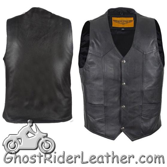 Mens Plain Black Leather Classic Motorcycle Vest - SKU GRL-MV302-04-DL