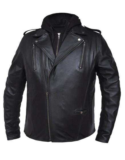 Mens Premium Leather Jacket with Hoodie - SKU GRL-6925-00