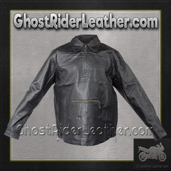 Mens Pullover Leather Shirt with Zipper Sides / SKU GRL-MJ770-DL