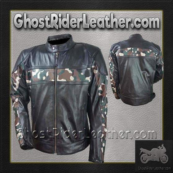 Mens Scooter Leather Jacket with Camouflage / SKU GRL-HMM540-VL