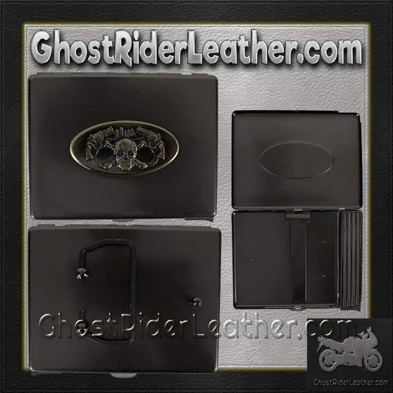 Metal Cigarette Case with Skull and Pistols Design on Front - SKU GRL-CG7-DL